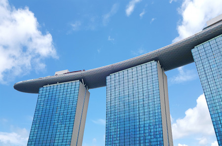 Singapore, Singapore- 14 October 2018: View of the Marina Bay Sands Hotel from Marina Bay