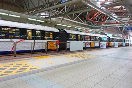 Malaysia, Kuala Lumpur - 16 October 2018: passengers on Rapid KL Monorail train in the station in Malaysia, Kuala Lumpur