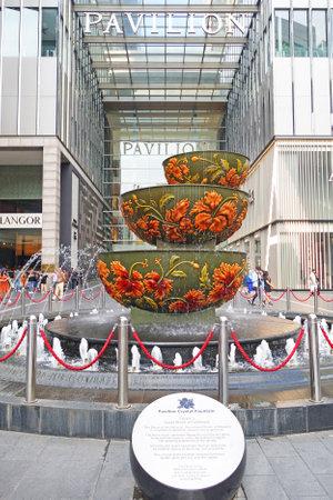 Malaysia, Kuala Lumpur - October 16, 2018: Pavilion crystal fountain at the Bukit Bintang entrance of Pavilion shopping mall