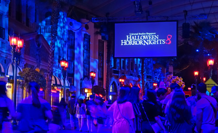 SINGAPORE - 16 OCTOBER 2018 : Horror Show at Universal Studio Halloween Horror Night 8th event, this festival opening at nights of October to challenge your courage.