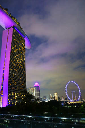 SINGAPORE-16 October 2018 : Closeup  view of Sands Sky Park at marina bay sad Worlds most expensive standalone casino property in Singapore
