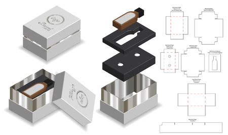 rigid box packaging die cut template 3D mockup Vector Illustration