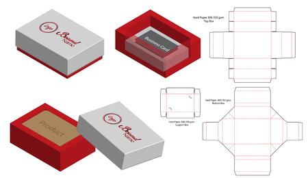 caja rígida embalaje plantilla troquelada maqueta 3D Ilustración de vector
