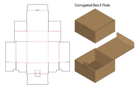 Caja de papel corrugado troquelada con maqueta 3d Ilustración de vector
