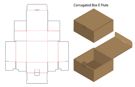 corrugated paper box die cut with 3d mock up Vector Illustration