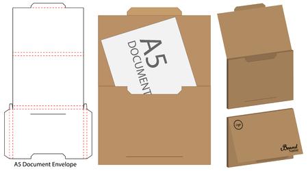 Modèle de maquette d'enveloppe découpée à l'emporte-pièce Illustration vectorielle.