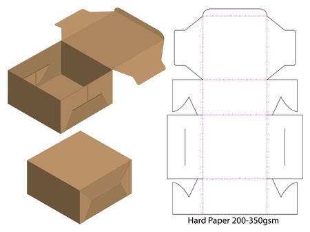 Boîte d'emballage de conception de modèle découpé. Maquette 3D