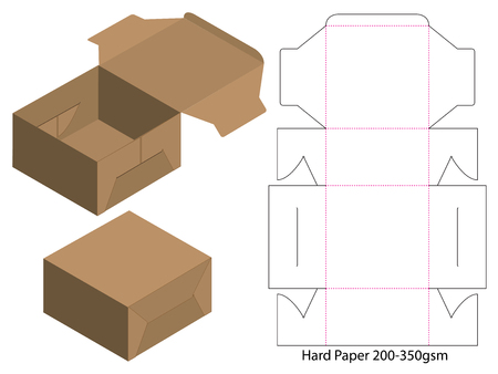 Box packaging die cut template design. 3d mock-up Illusztráció