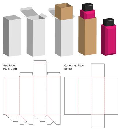 Box packaging die cut template design. 3d mock-up Vettoriali