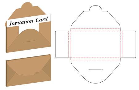 Envelope die cut mock up template Vector illustration.