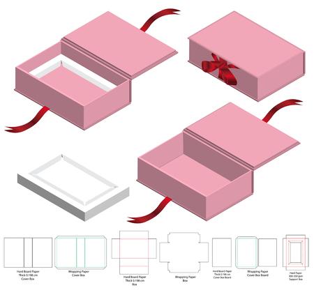 Boîte d'emballage de conception de modèle découpé. Maquette 3D Vecteurs