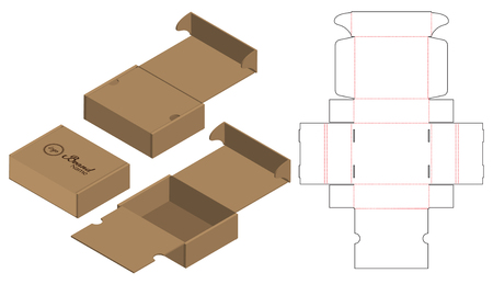 Box packaging die cut template design. 3d mock-up Ilustrace