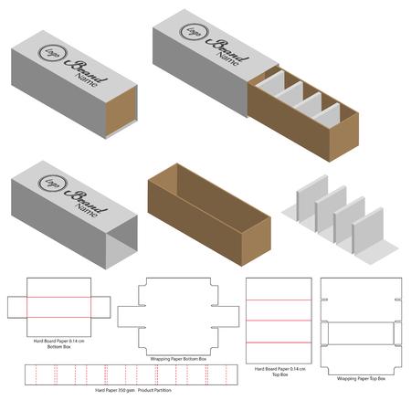 Gestanztes Vorlagendesign für Schachtelverpackungen. 3D-Modell Vektorgrafik
