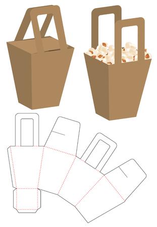 Box packaging die cut template design. 3d mock-up 向量圖像