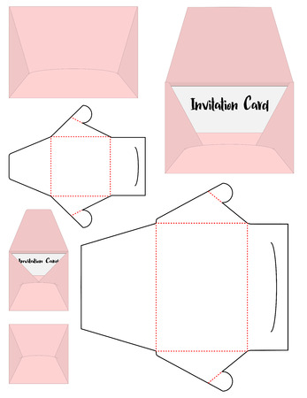 Enveloppe découpée à la forme maquette vecteur modèle Vecteurs