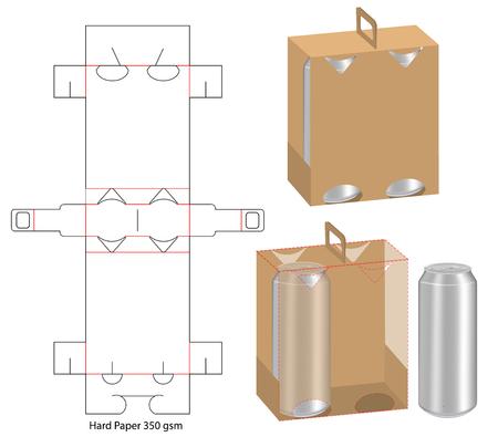 beverage packaging die cut template design. 3d mock-up