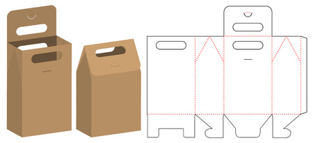 Diseño de plantilla troquelada de embalaje de bolsa de papel. Maqueta 3d Ilustración de vector
