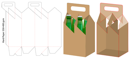 beverage packaging die cut template design. 3d mock-up