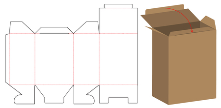 Box packaging die cut template design. 3d mock-up 일러스트