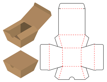 Box packaging die cut template design. 3d mock-up Stock Illustratie