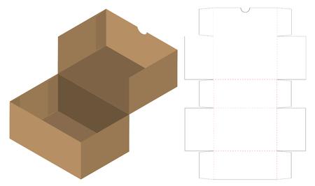 Caja de embalaje troquelado diseño de plantilla. Maqueta 3d