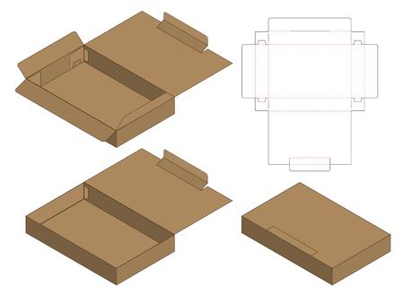 Progettazione del modello fustellato imballaggio della scatola. Modello 3D Vettoriali