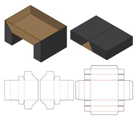Caja de embalaje troquelado diseño de plantilla. Maqueta 3d Ilustración de vector