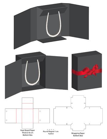 Box Verpackung gestanzte Vorlage Design. 3D-Modell Vektorgrafik