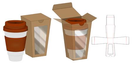 Box packaging die cut template design. 3d mock-up Vektorové ilustrace