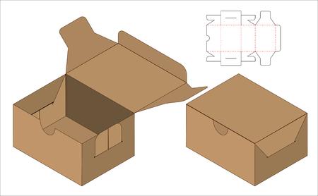 Box packaging die cut template design. 3d mock-up Illustration