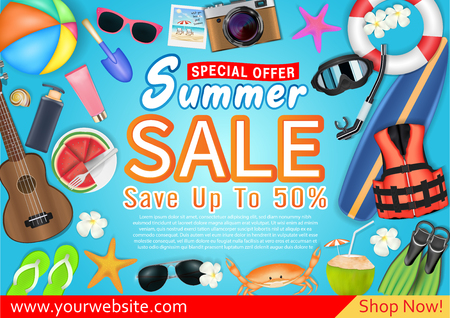 summer sale special offer deal  promotion poster Çizim