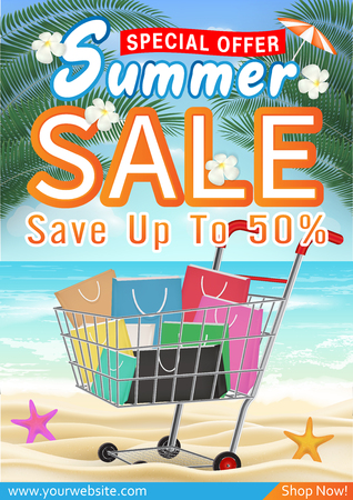 summer sale special offer deal  promotion poster Illustration