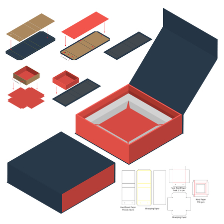 Box packaging die cut template design. 3d mock-up  イラスト・ベクター素材