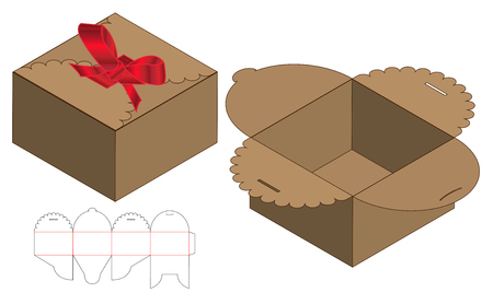 Box packaging die cut template design. 3d mock-up Çizim