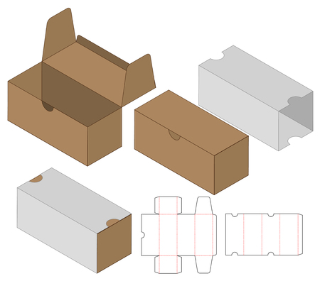 Box packaging die cut template design. 3d mock-up Stok Fotoğraf - 121192610