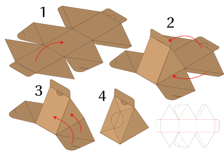 Progettazione del modello fustellato imballaggio della scatola. Modello 3D