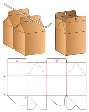 Box packaging die cut template design. 3d mock-up Vectores