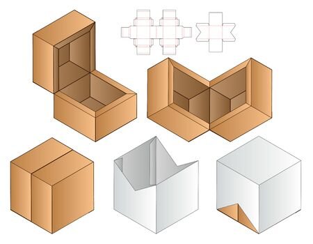 Box packaging die cut template design. 3d mock-up Çizim