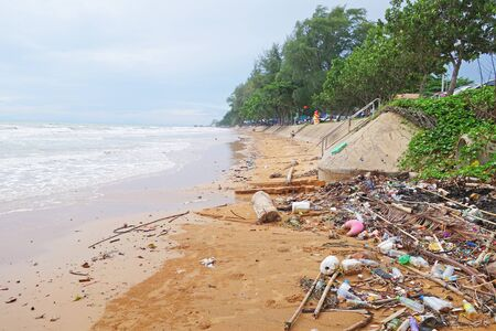 Rubbish and domestic waste polluting the beach in Kung Wiman Beach CHANTHABURI, THAILAND
