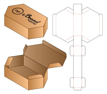 Hexagon Box packaging die cut template design. 3d mock-up Иллюстрация