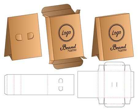 Box Stand packaging die cut template design. 3d mock-up