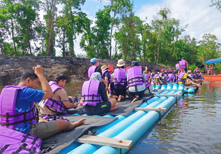 CHANTABURI, LAEM SING, THAILAND – 26 JULY 2019 Tourists floating