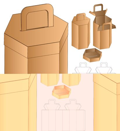 Box packaging die cut template design. 3d mock-up Иллюстрация