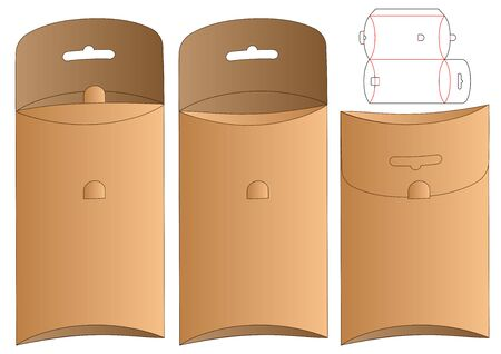 Hanging Box packaging die cut template design. 3d mock-up