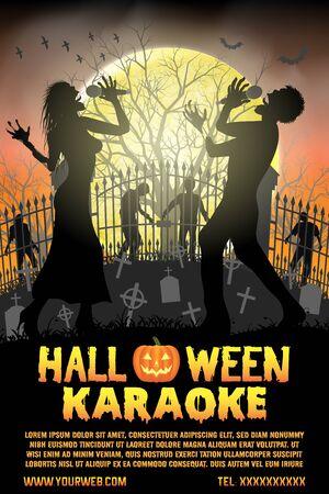 halloween zombie singing karaoke music at cemetery poster
