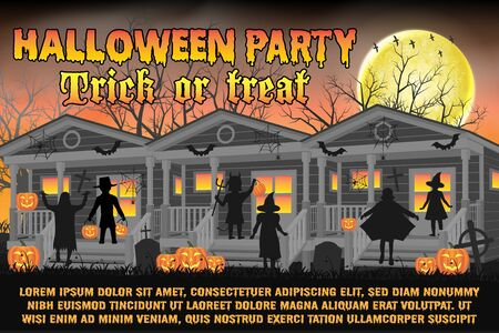 halloween party poster with kids in halloween costume