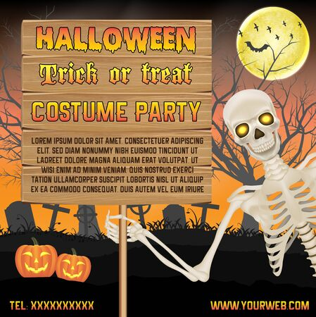 halloween promotion banner with skeleton on graveyard poster