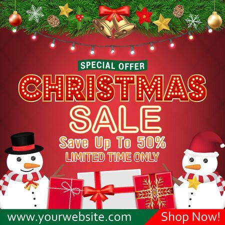 christmas sale banner design with snowman gift box Ilustração Vetorial