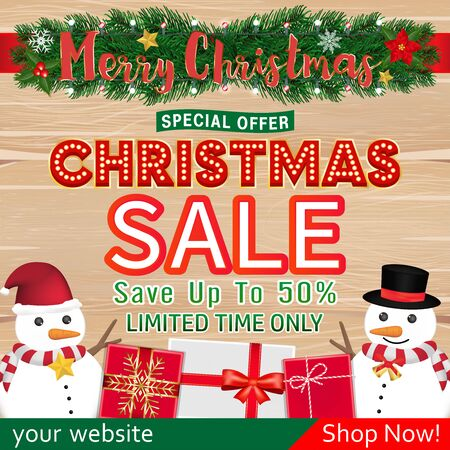 christmas sale banner design with snowman gift box Stock Illustratie