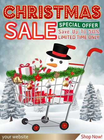 christmas sale banner with gift box in cart